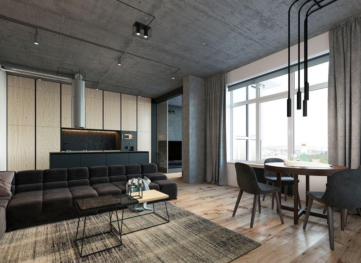просторный лофт дизайн квартиры