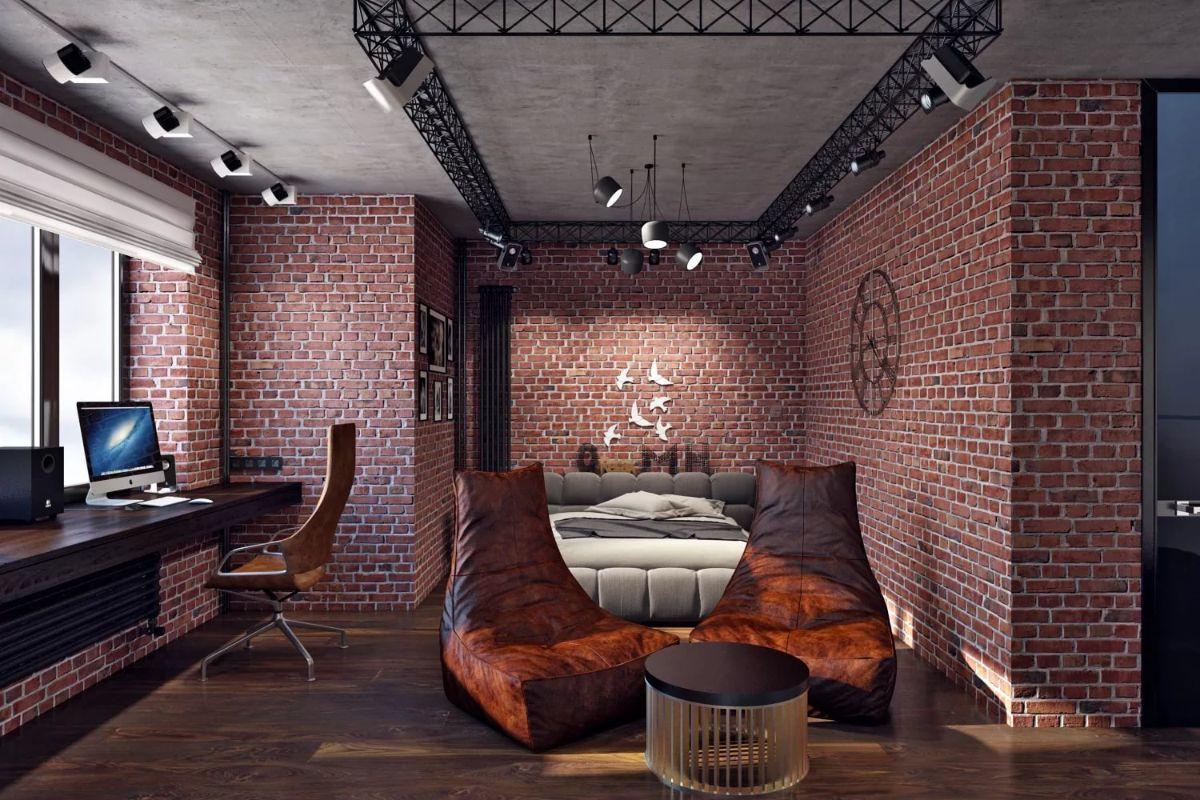 роскошный дизайн квартиры в стиле лофт