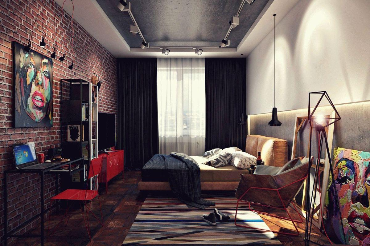 роскошный дизайн спальни в стиле лофт
