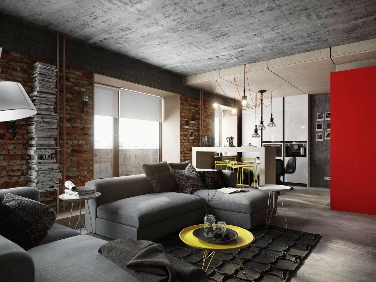 серый бетонный потолок в стиле лофт