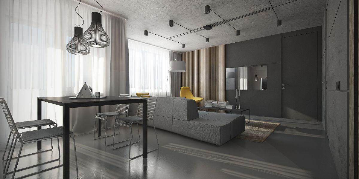 серый интерьер дизайн в стиле лофт