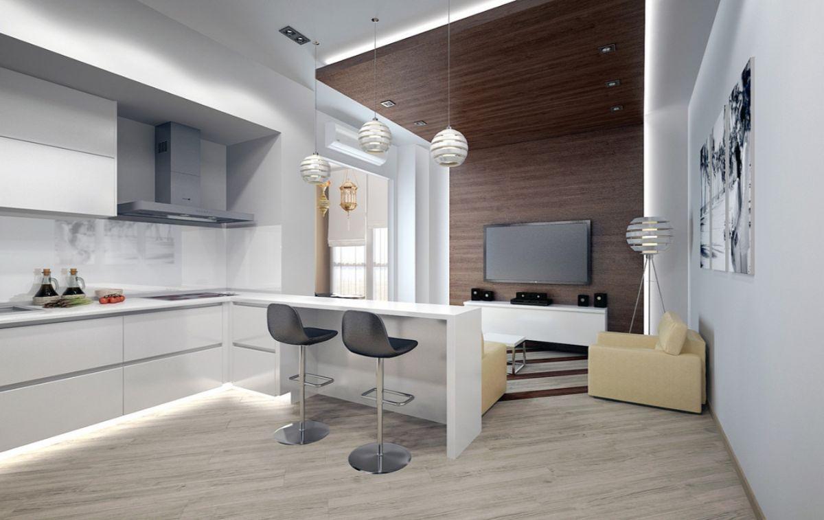 серый интерьер маленькой квартиры студии