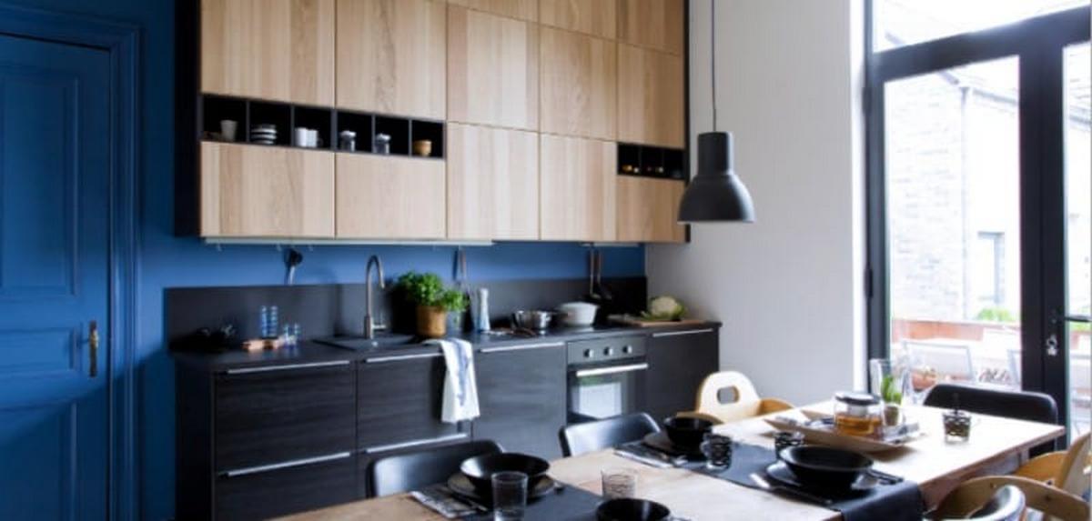 синий и чёрный цвет в интерьере кухни