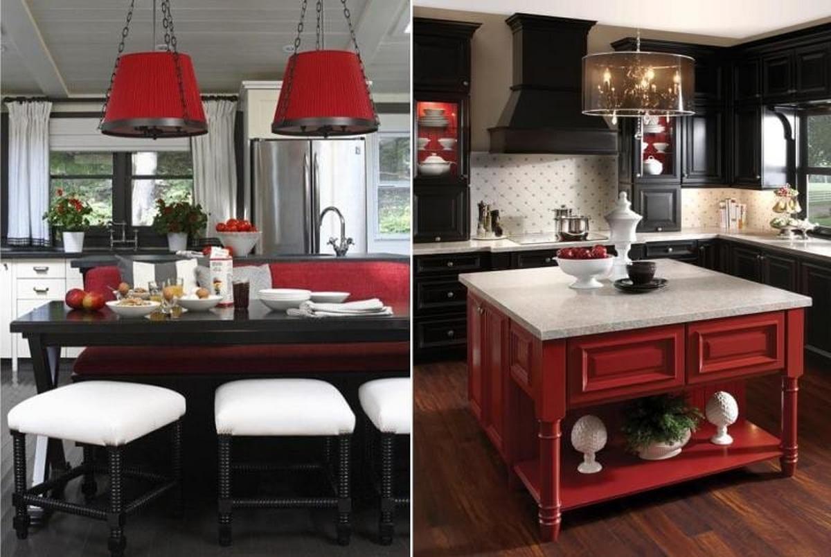 сочетания чёрного цвета в интерьере красный фото