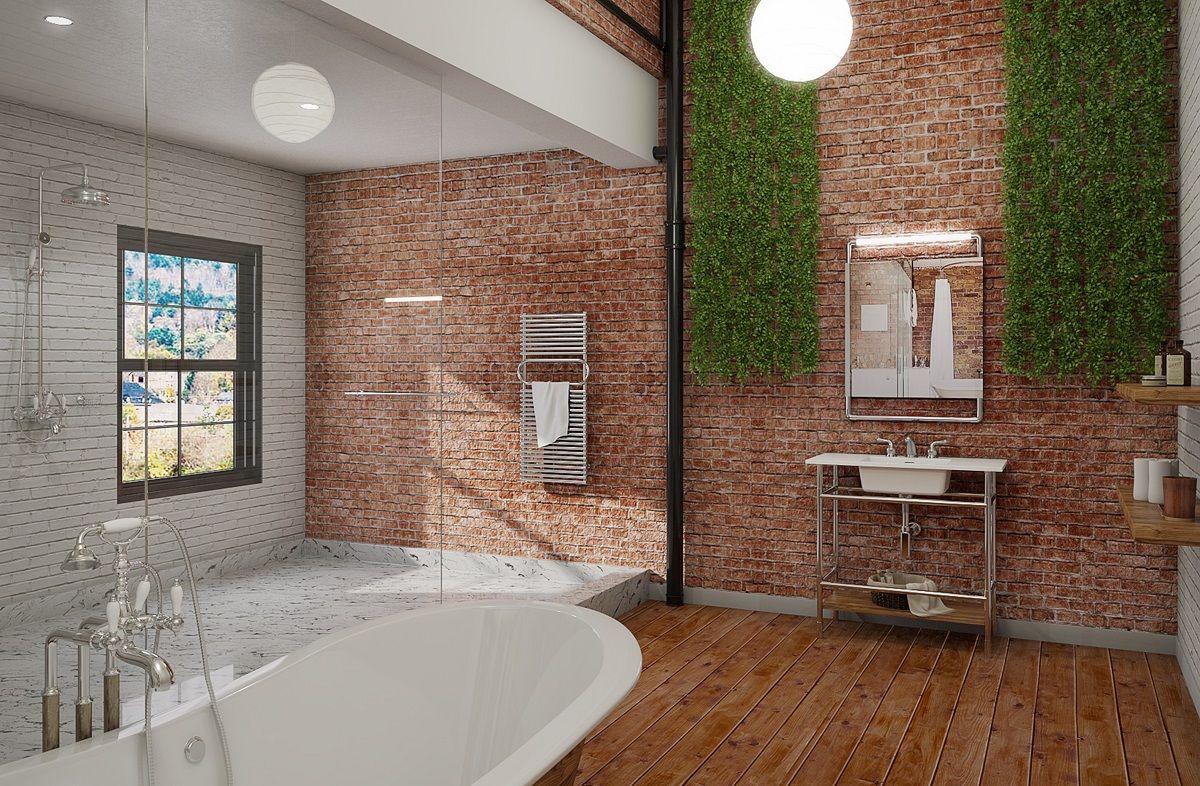 современная ванная комната в стиле лофт
