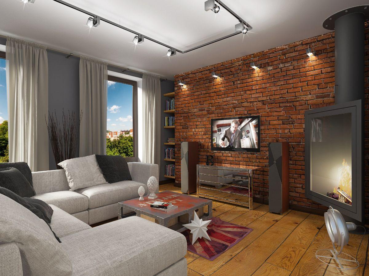 современный дизайн квартиры в стиле лофт