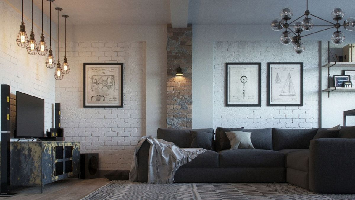 современный дизайн спальни в стиле лофт