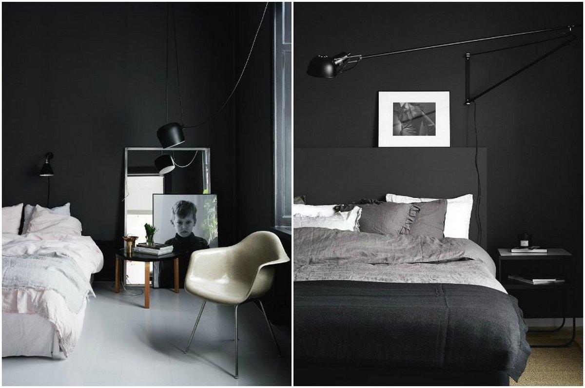 спальня в чёрном цвете фото