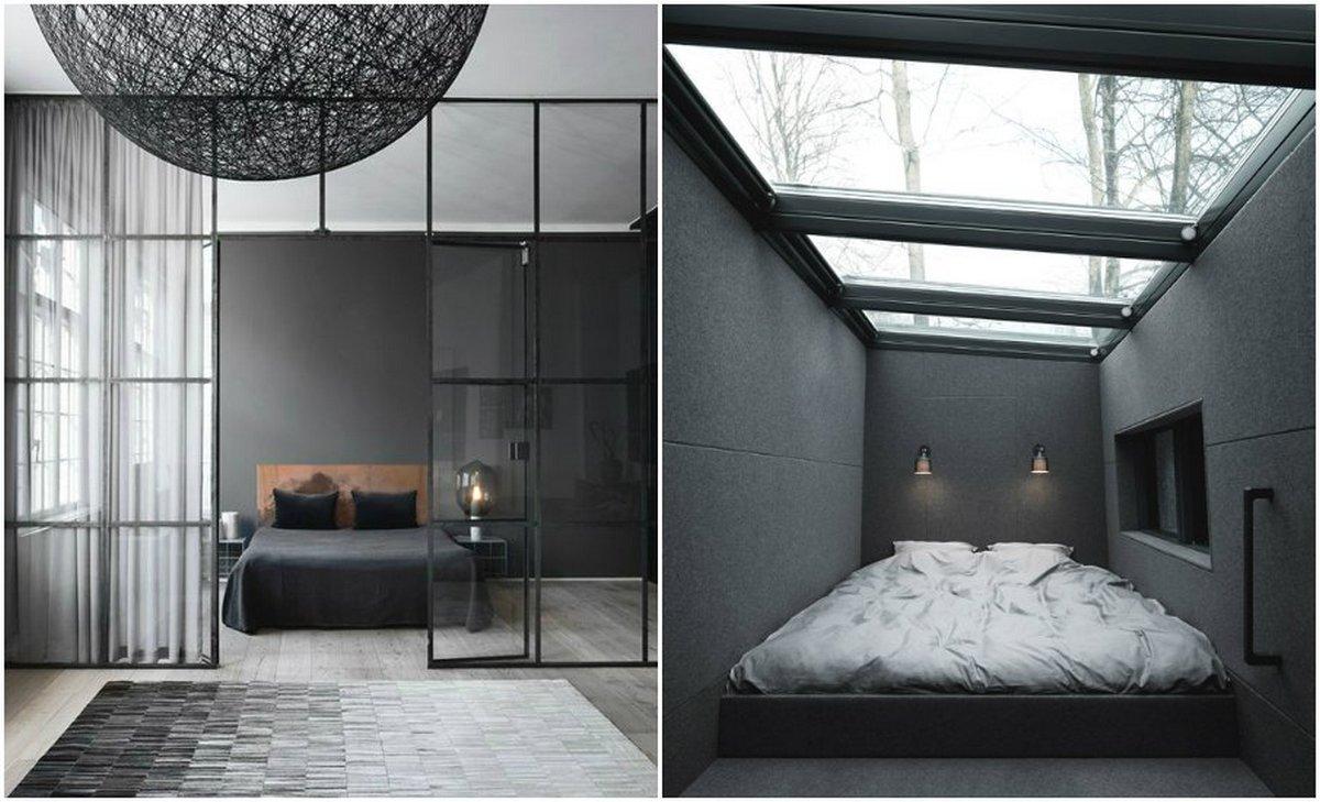 спальня в чёрном цвете