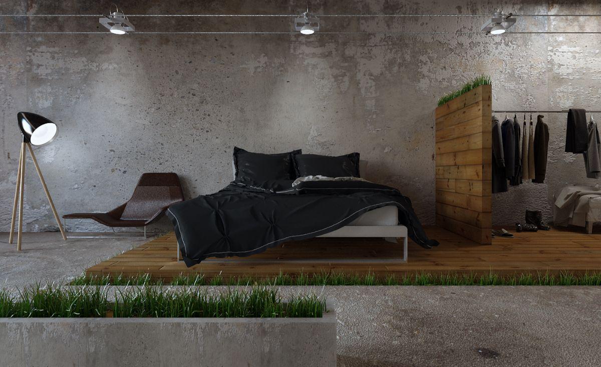 спальня в стиле лофт промышленный дизайн