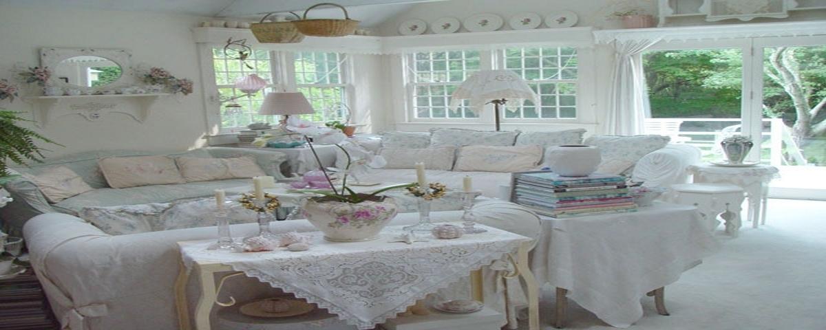 стиль шебби шик в дизайне гостиной