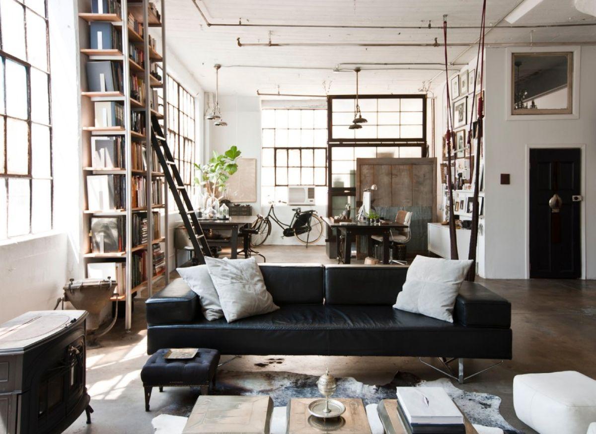 светлый дизайн квартиры в стиле лофт