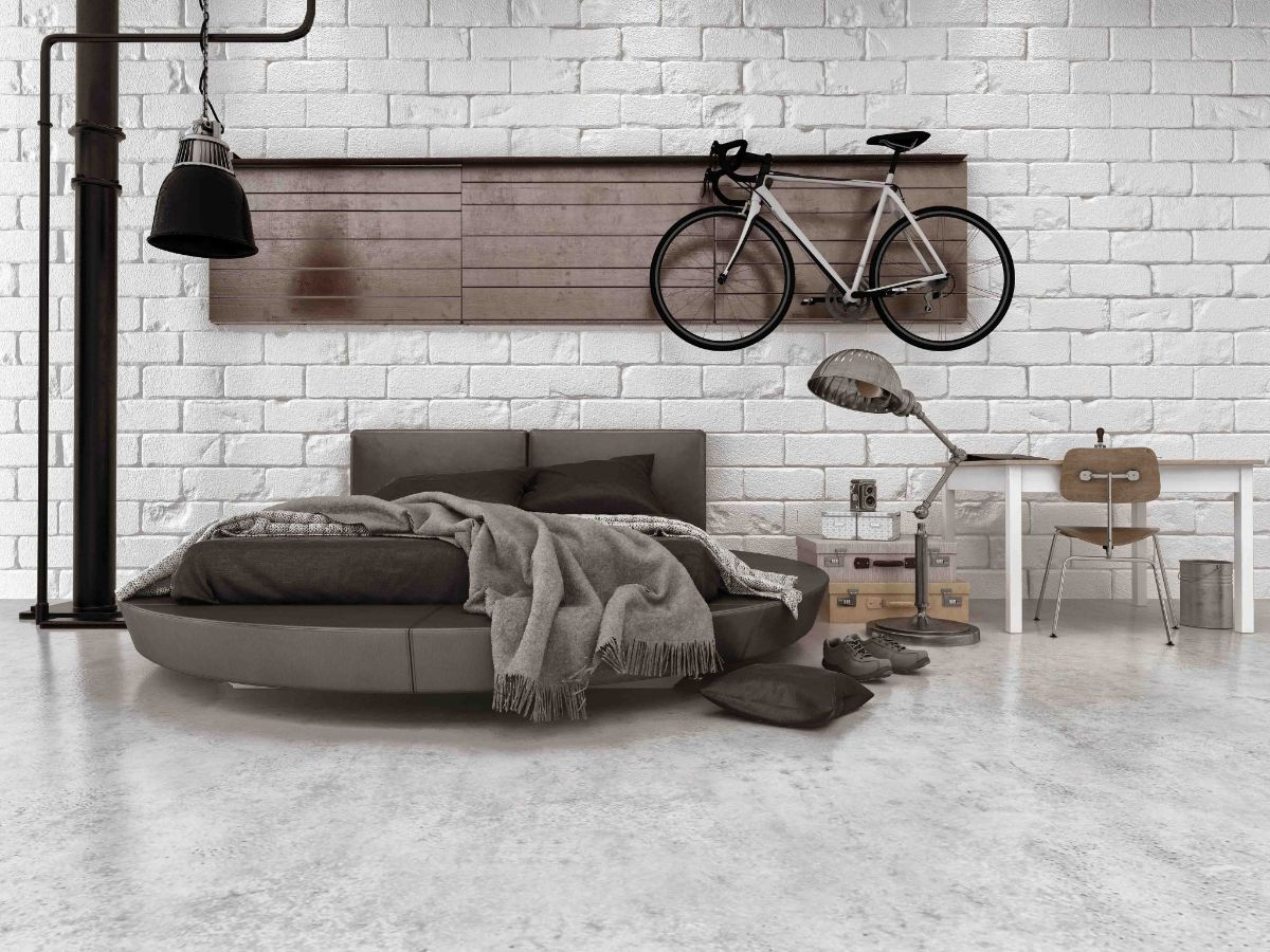 светлый дизайн спальни в стиле лофт