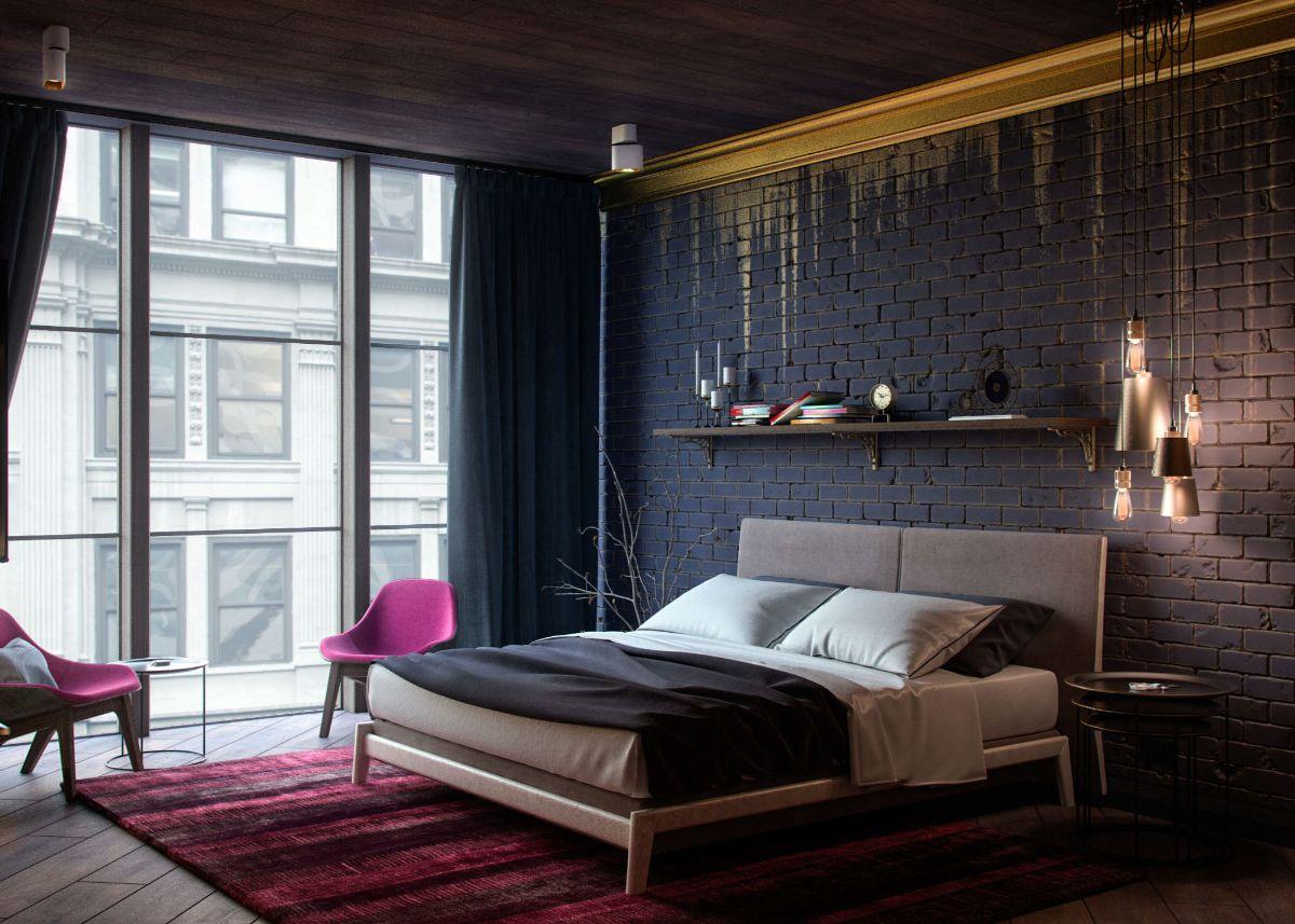 тёмная спальня в стиле лофт