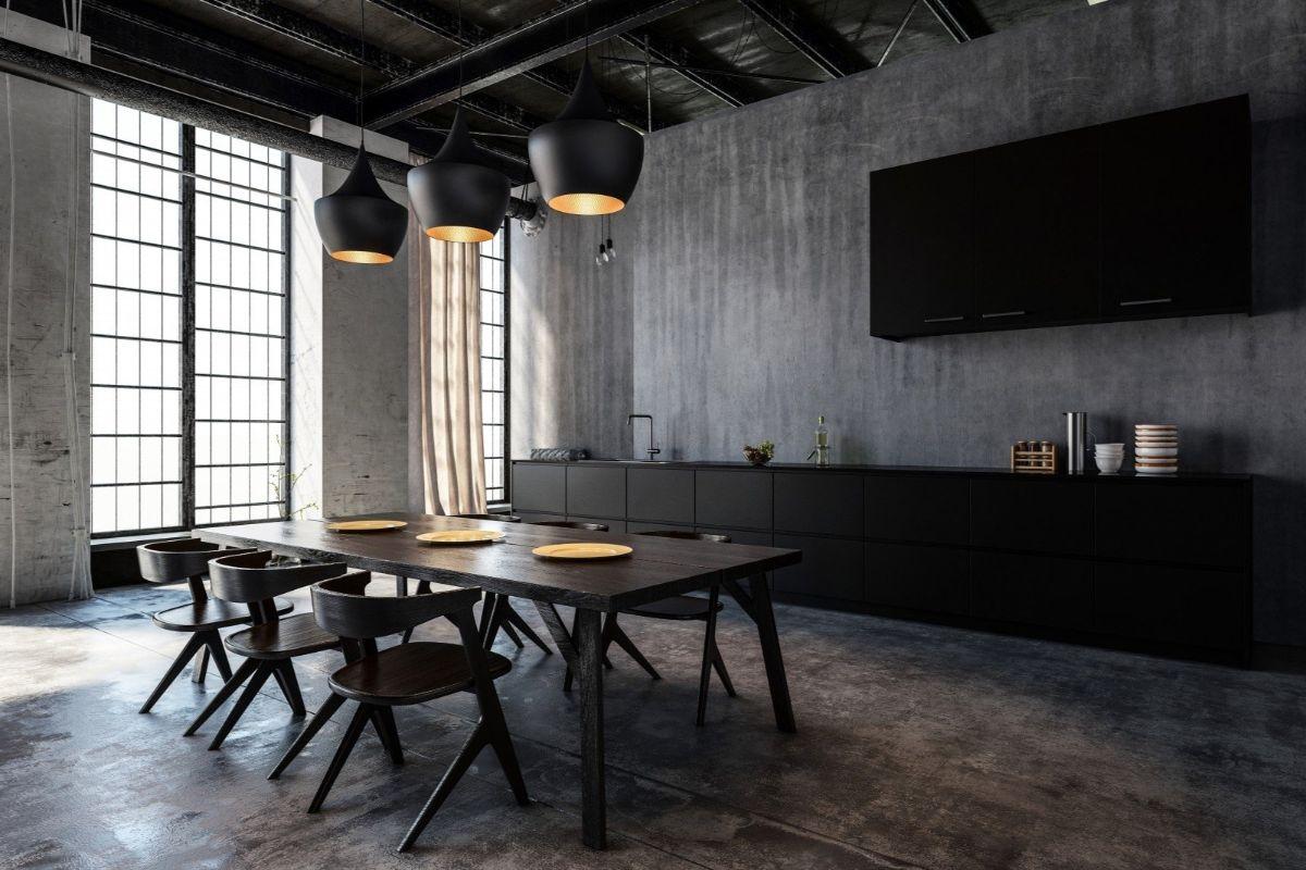 тёмный дизайн в стиле лофт на кухне