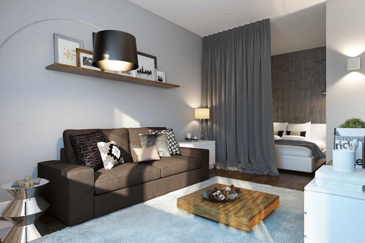уютный интерьер маленькой квартиры примеры зонирования