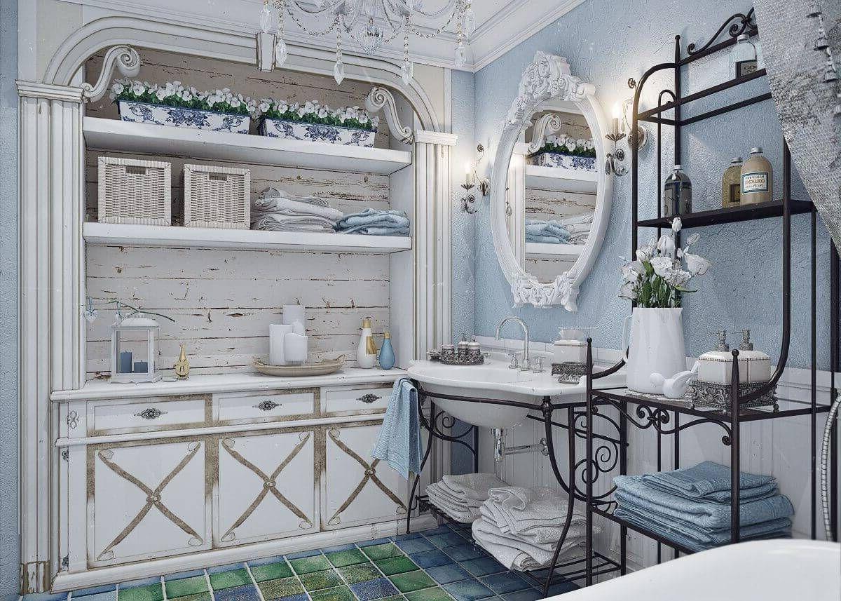 винтаж в интерьере дома голубая ванная