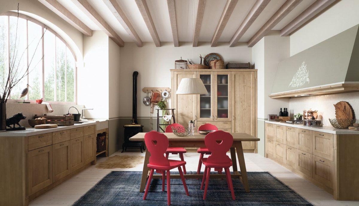 винтаж в интерьере дома просторная кухня