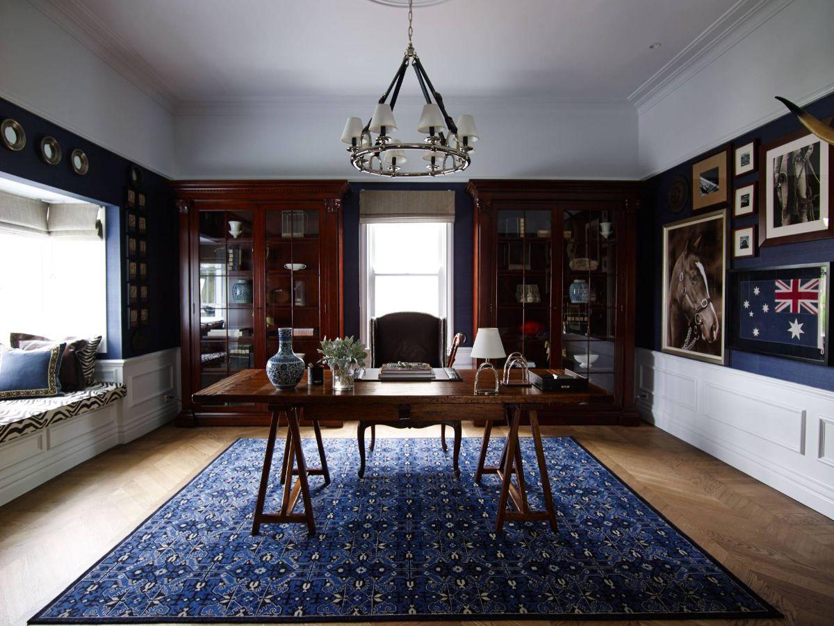 винтаж в интерьере дома роскошная гостиная в синих тонах