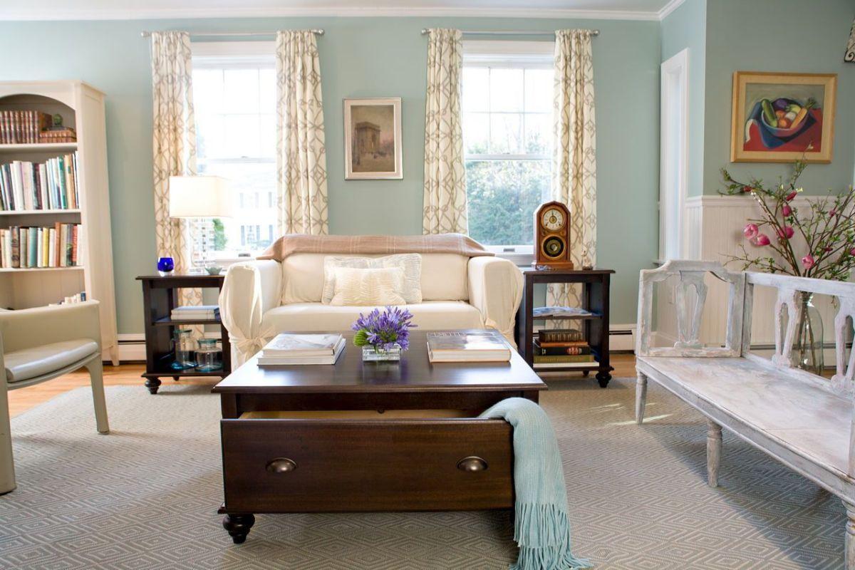 винтаж в интерьере дома светлый дизайн гостиной