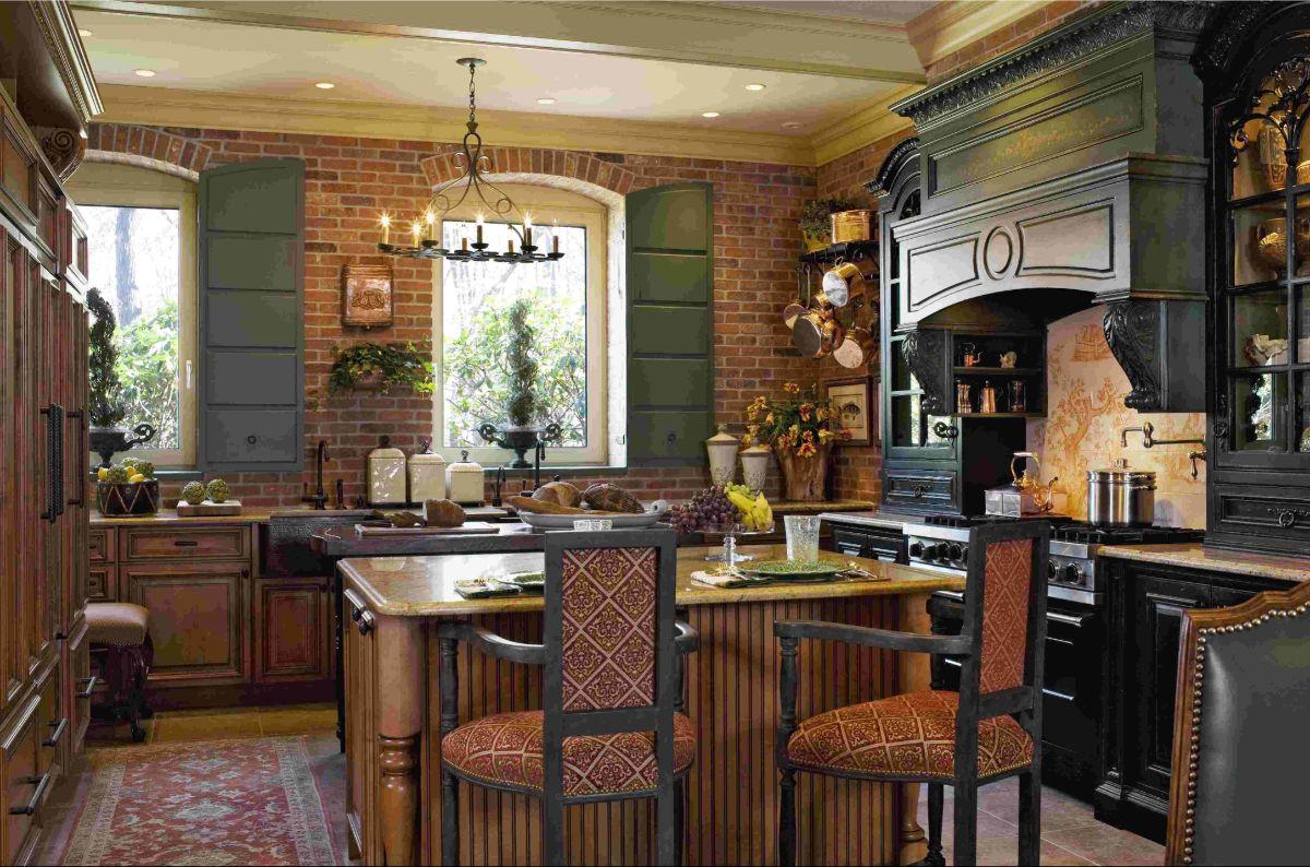 винтажный дизайн кухни дизайн с кирпичной стеной