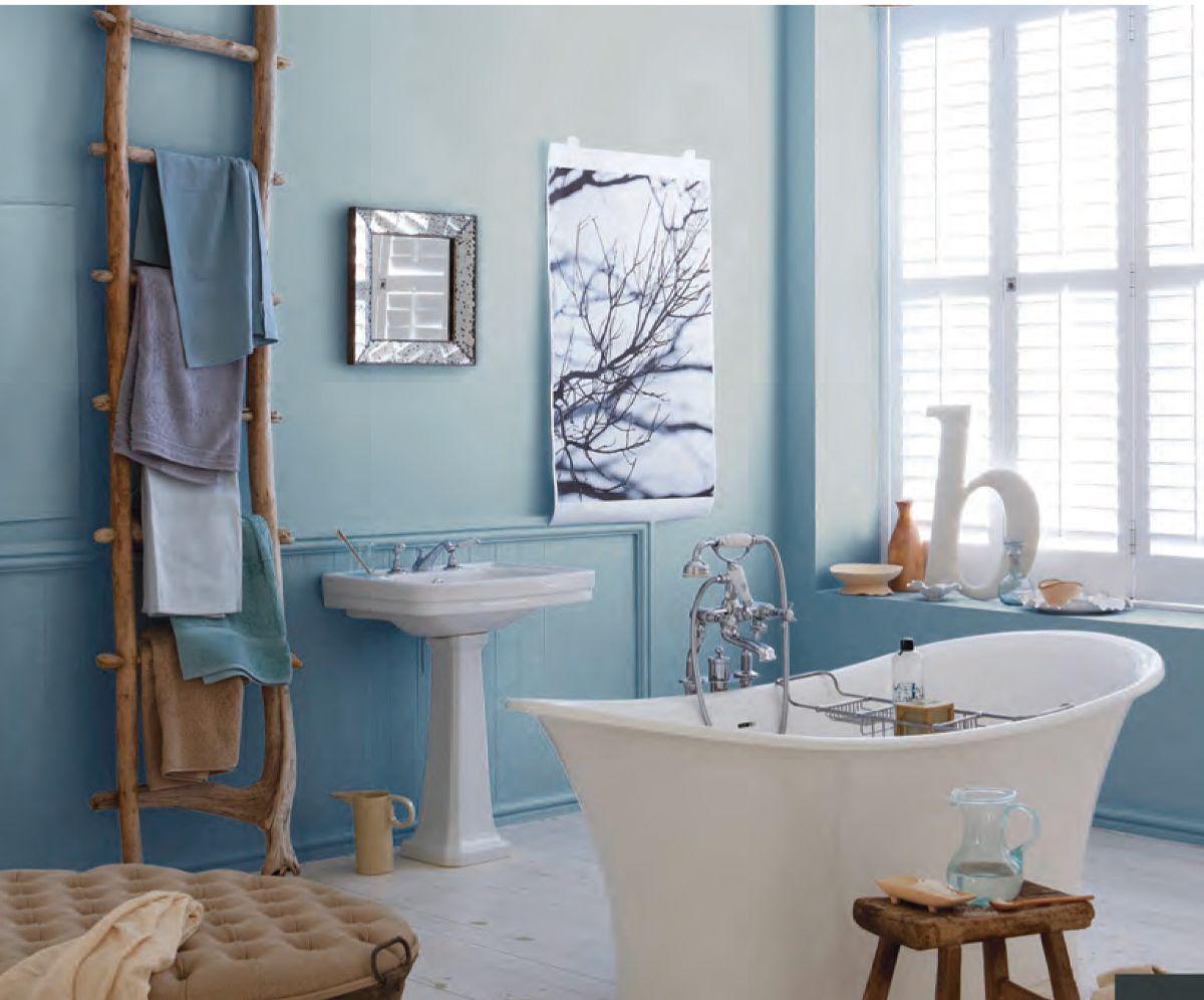винтажный дизайн в квартире голубая ванная