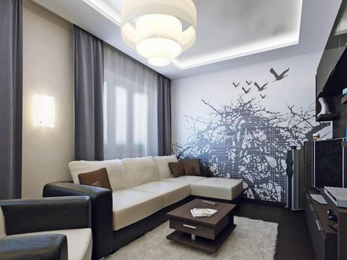 дизайн стен в гостиной фото