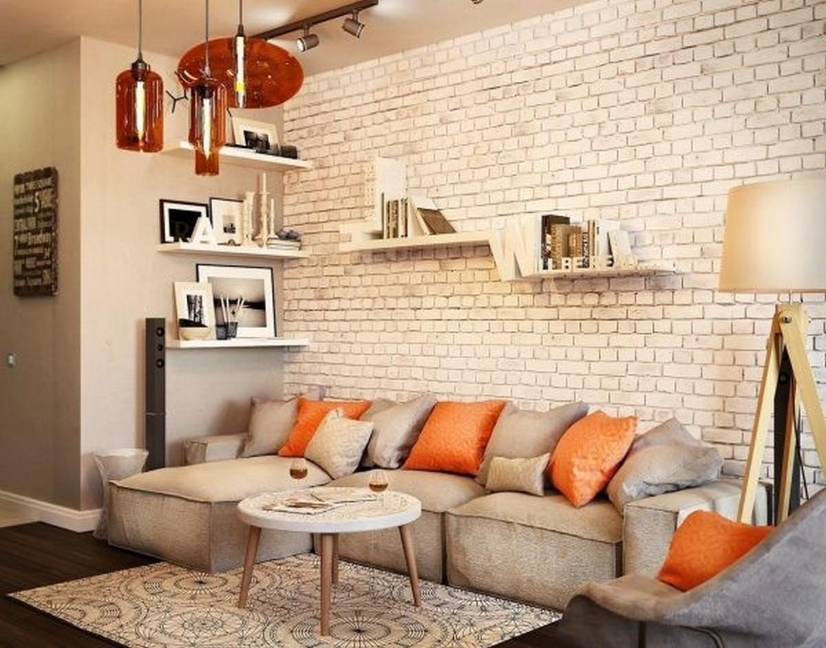 дизайн стен в гостиной пример настенные полки