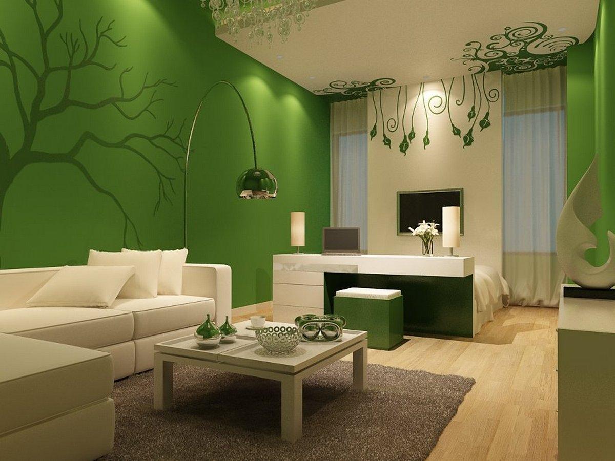 дизайн стен в гостиной в зеленом цвете
