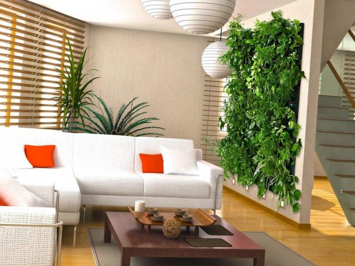 вертикальное озеленение в гостиной