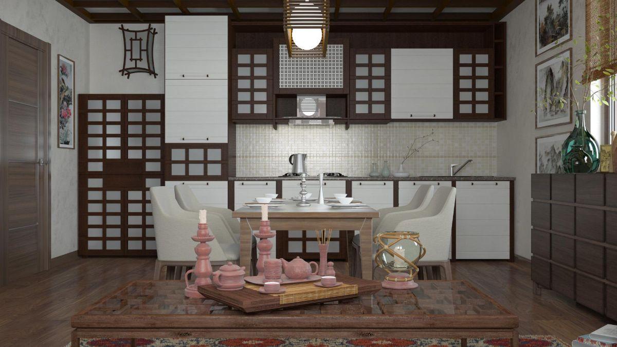 бело-коричневый интерьер кухни в японском стиле