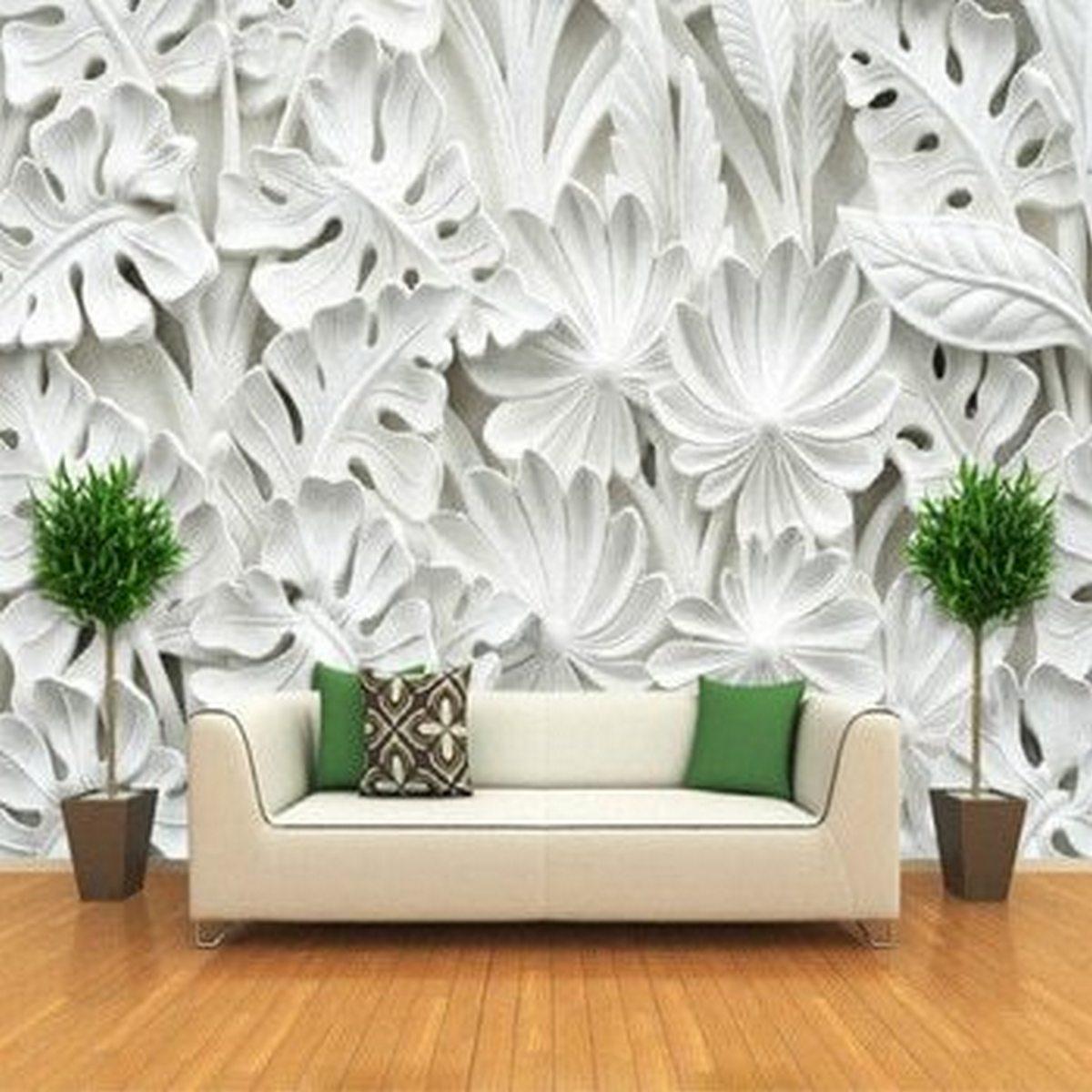 дизайн гостиной с белыми стенами 3д лепнина
