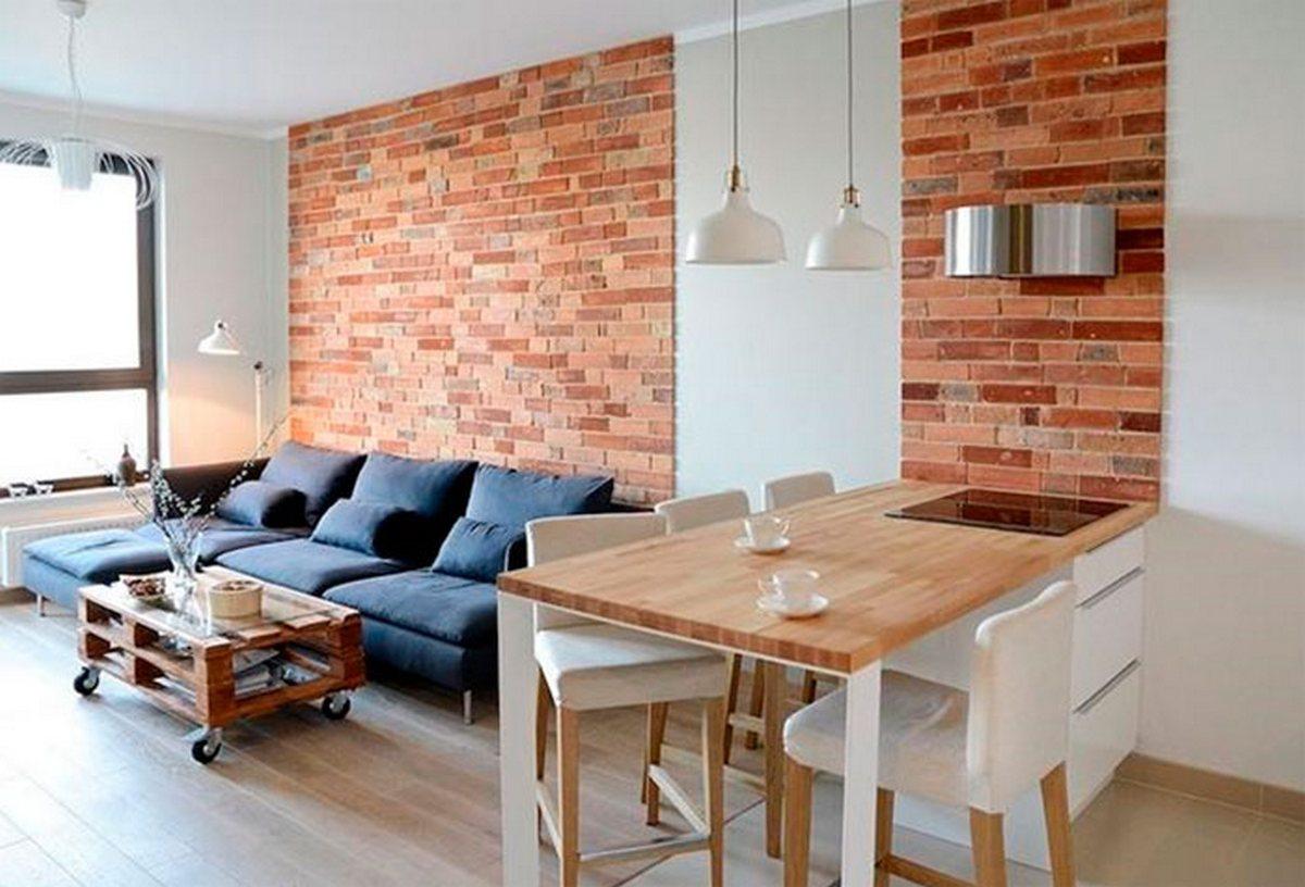 дизайн гостиной с кирпичной стеной фото