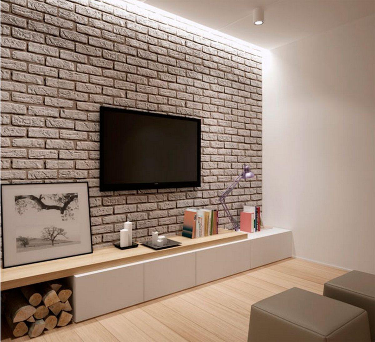 дизайн гостиной с кирпичной стеной с телевизором