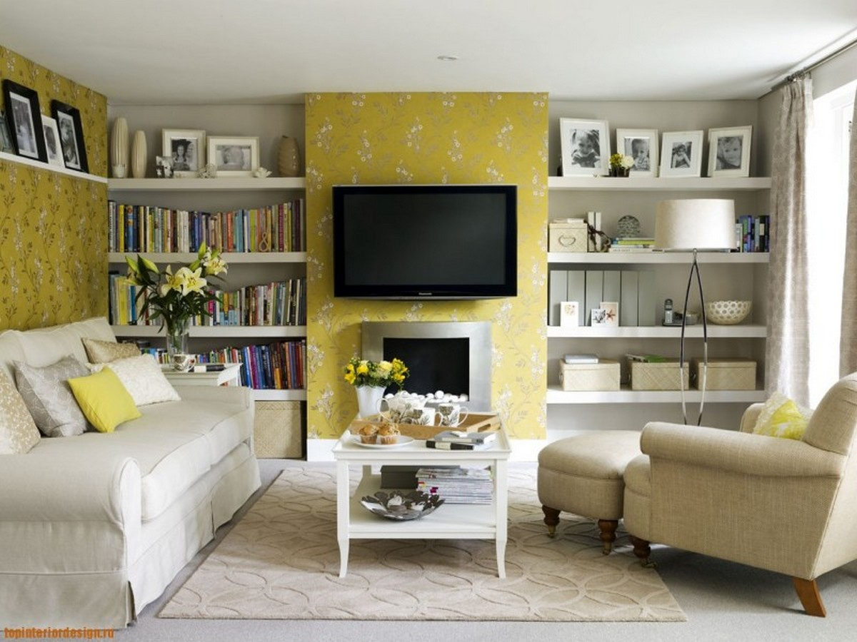 дизайн гостиной цвет стен с полками для книг