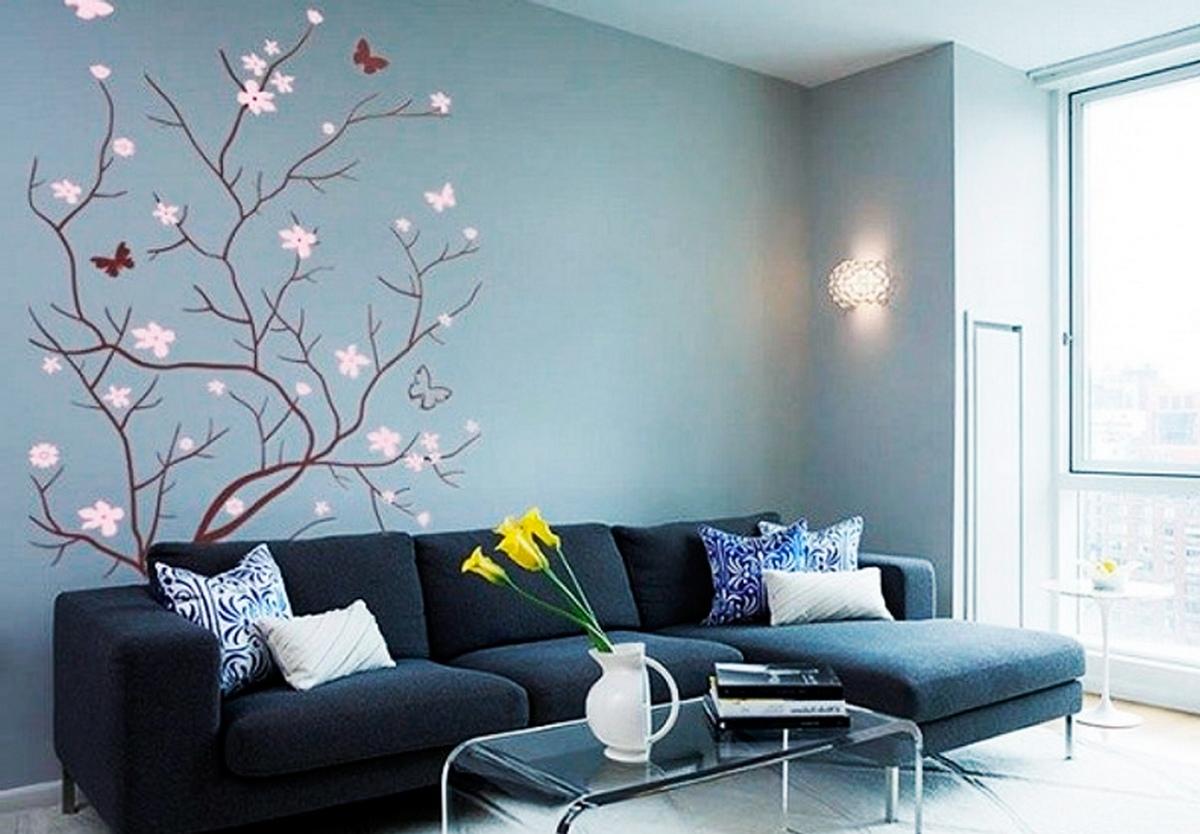 дизайн гостиной цвет стен