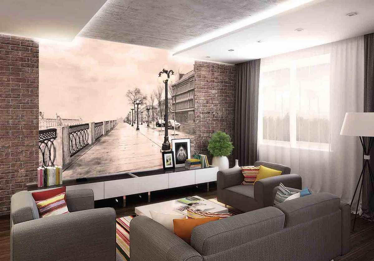 дизайн отделки стен гостиной