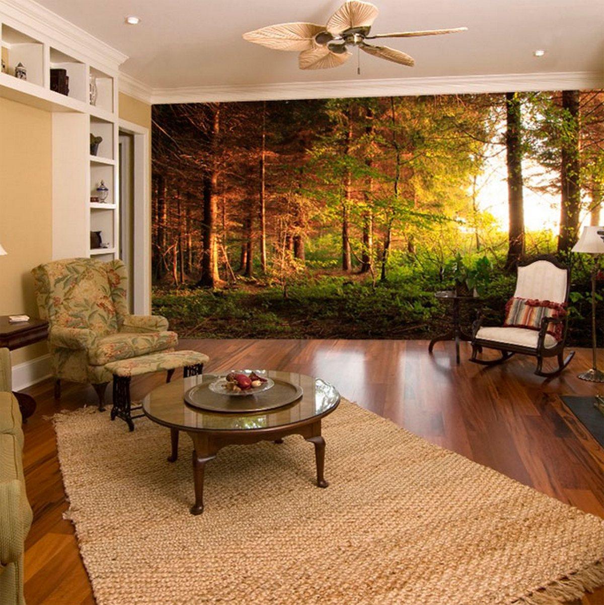 дизайн полок на стену у гостиную фотообои
