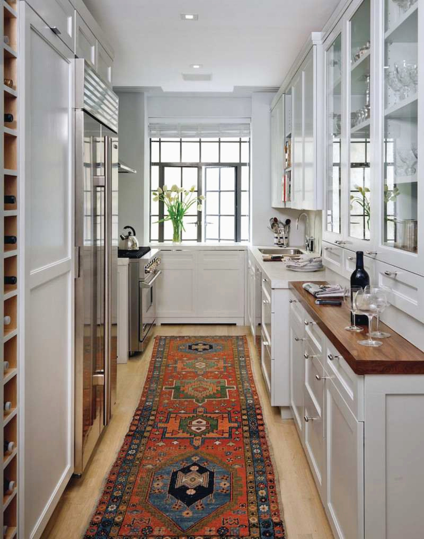 дизайн проходной узкой кухни