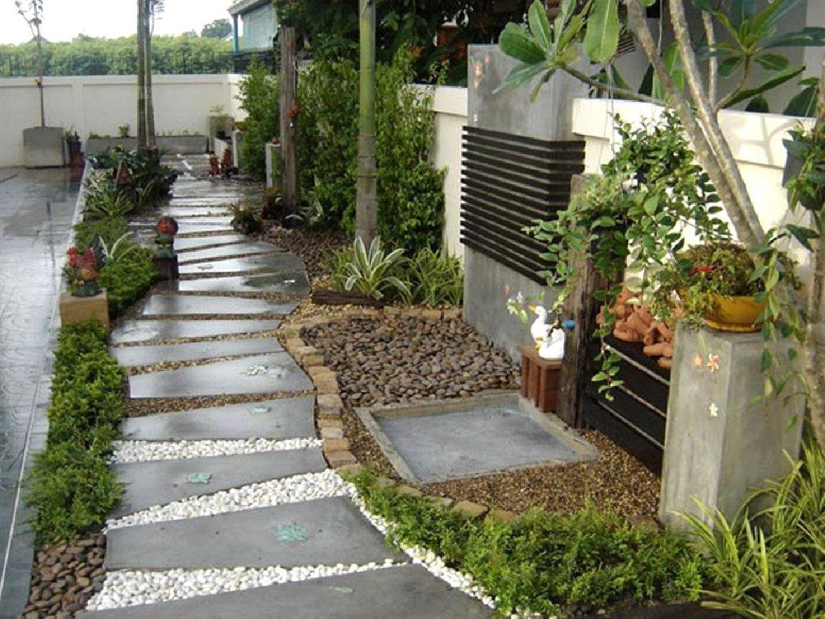 дизайн садового участка декоративная галька