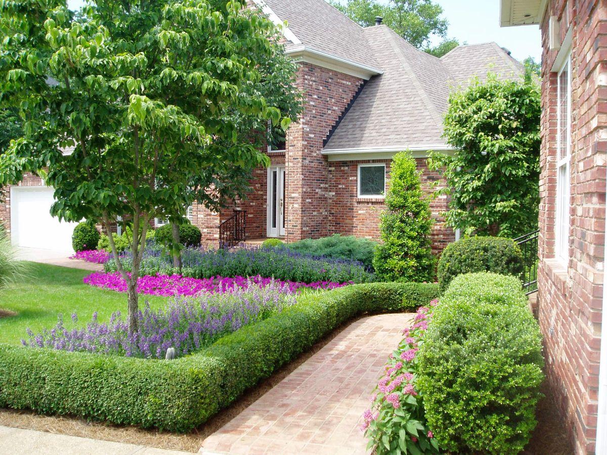дизайн садового участка дорожка живой изгородью