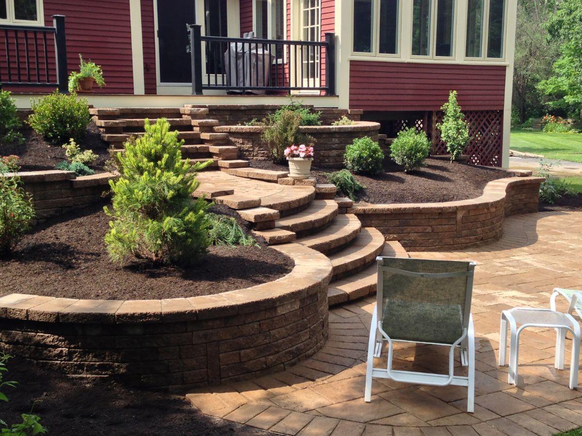 дизайн садового участка перед входом в дом