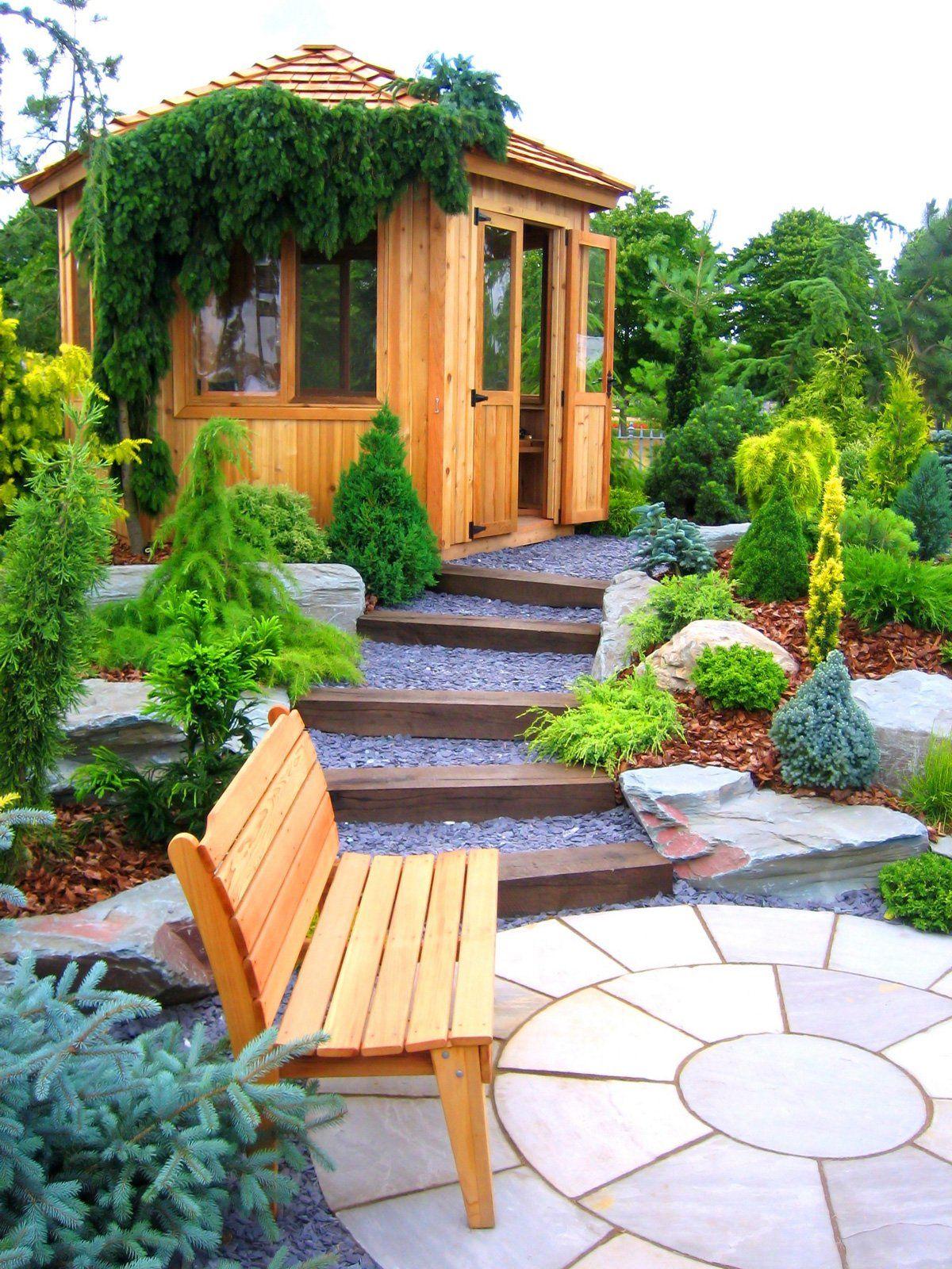 дизайн садового участка с беседкой