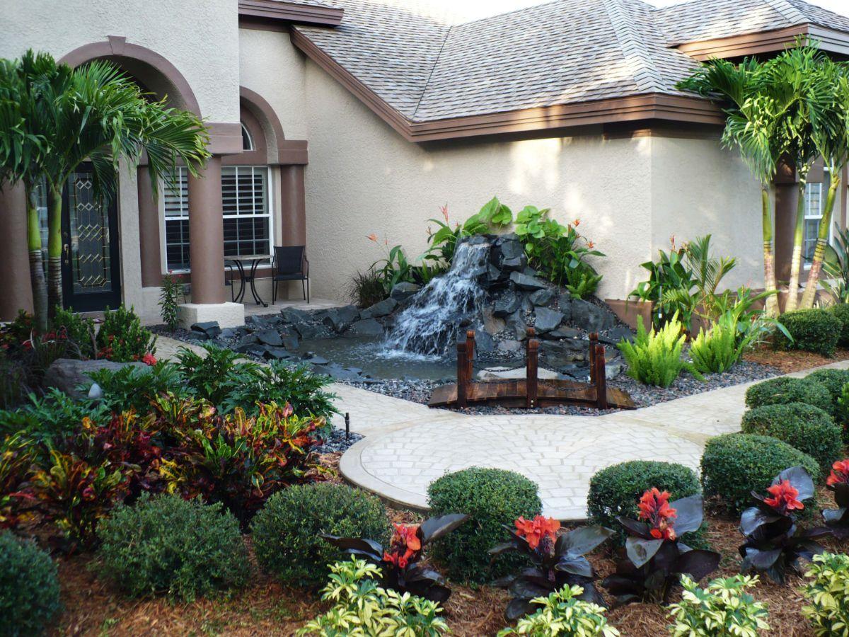 дизайн садового участка с фонтаном