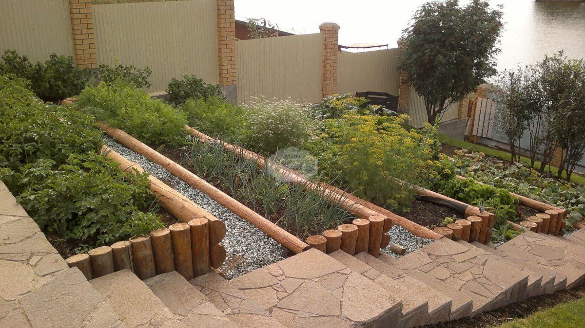 дизайн садового участка с крутым спуском