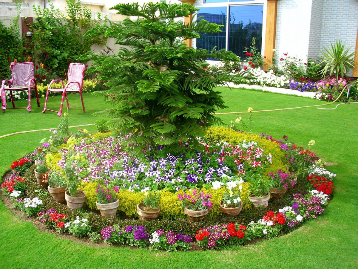 дизайн садового участка с цветочной клумбой