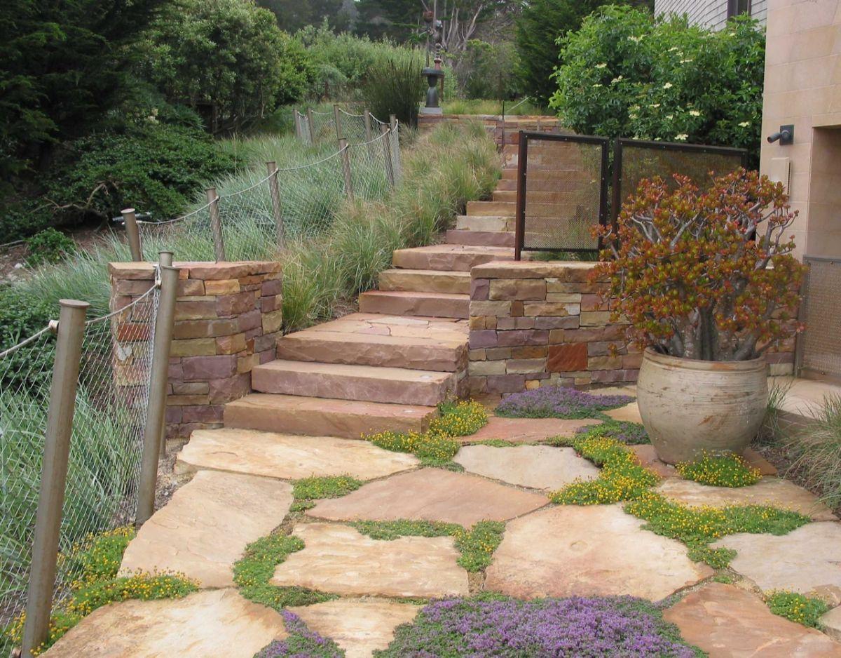 дизайн садового участка со ступенями