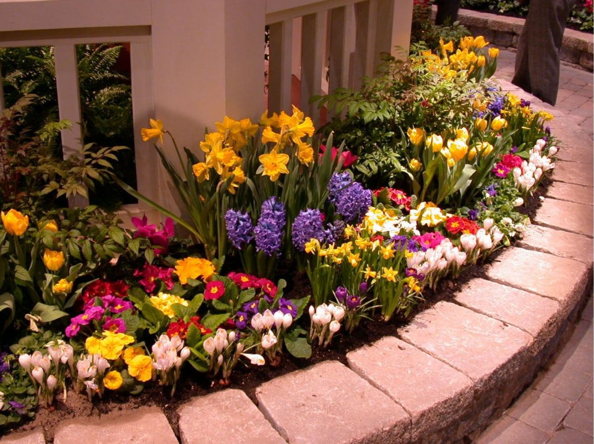 дизайн садового участка цветник и перил
