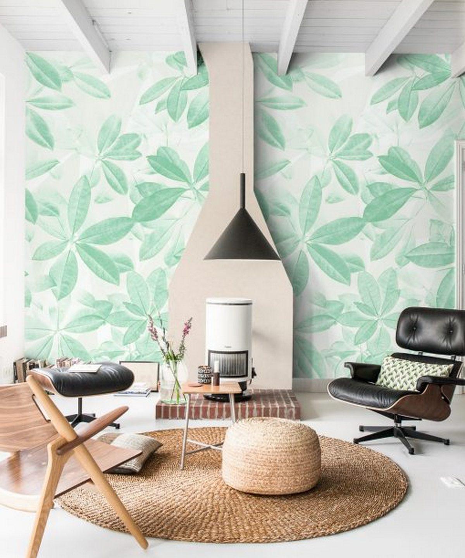 дизайн стен гостиной с камином