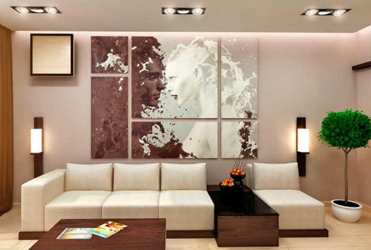 дизайн стен в гостиной картинами
